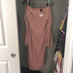 Bardot nude cocktail dress bell sleeves sz XS /4